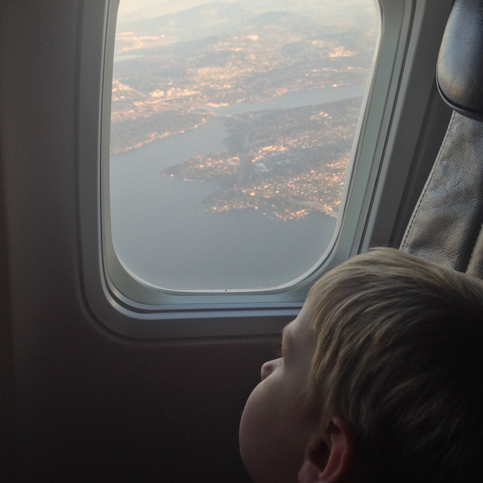 Looking out the airplane