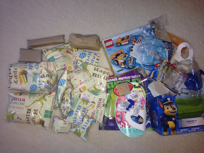 airplane toys wrapped