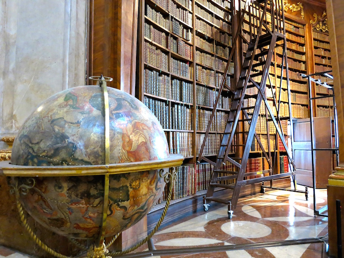 Austrian National Library Globe and Bookshelves