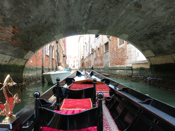 Venice Gondola Ride Under Bridge