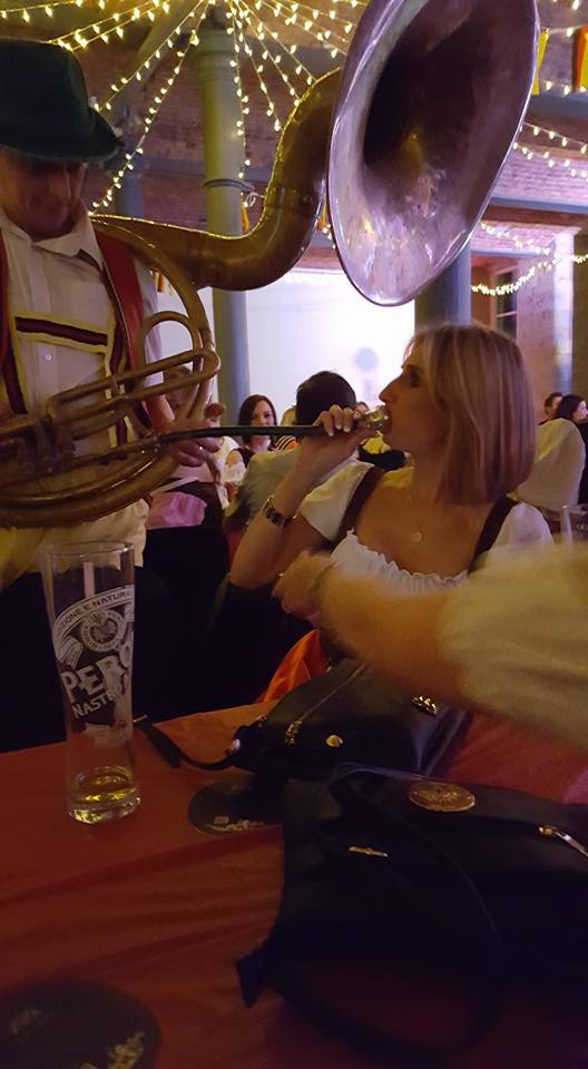 Kirsty helping with the horn