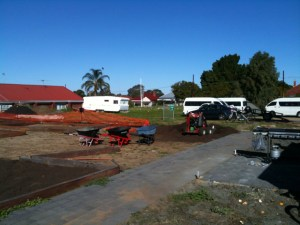 Photo of more of the garden plots being filled at North Perth Community Garden.