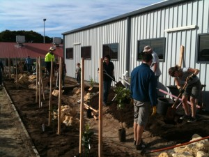 Photo of gardeners at work building the swale at North Perth Community Garden.