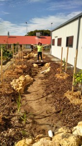 Photo of the completed swale at the North Perth Community Garden.