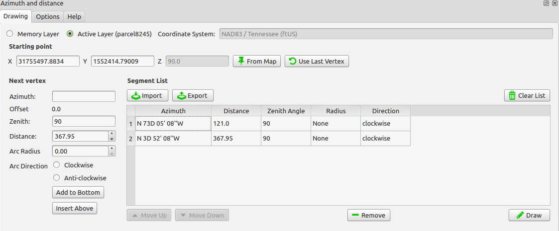 QGIS: Azimuth and Distance Plugin • North River Geographic Systems Inc