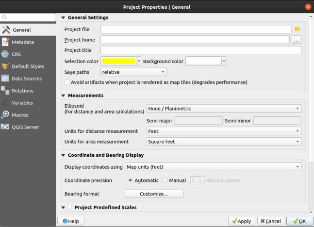 qgis project properties