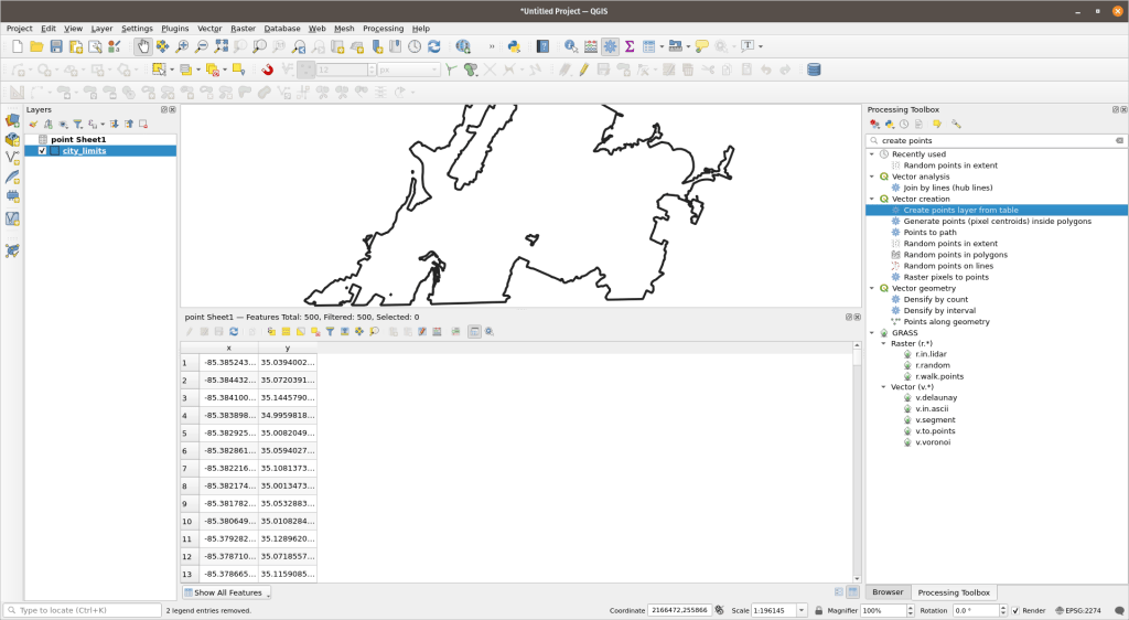 QGIs with an excel spreadsheet added.