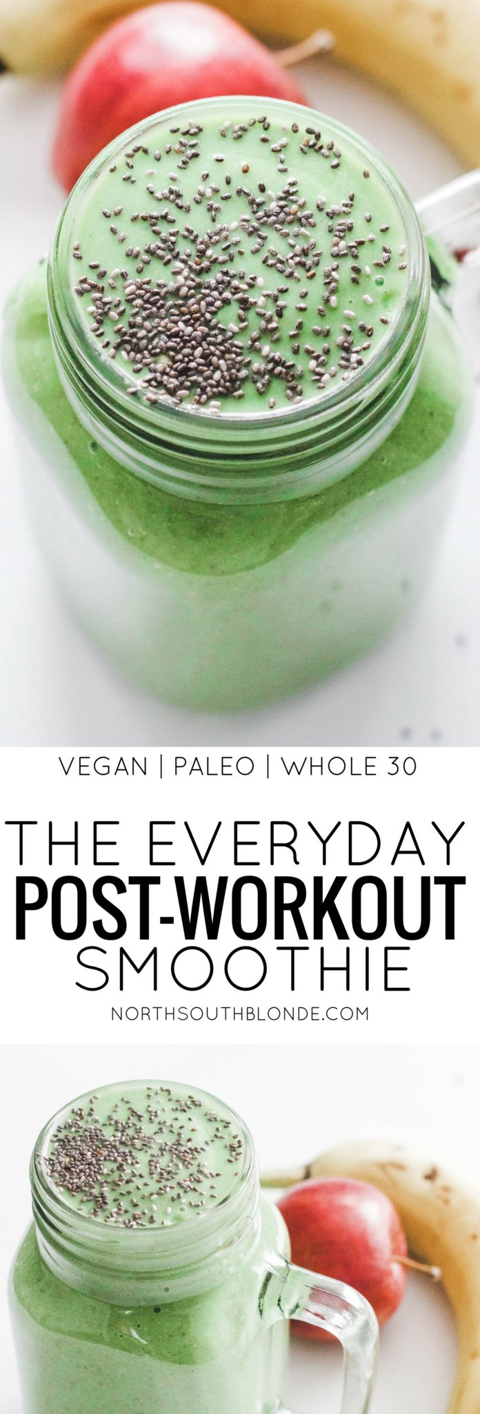 This everyday post-workout smoothie is quick and easy to make on the regular and necessary to better digestion, boost the metabolism, recover after exercise, and aid in weight loss. Green smoothie | Vegan | Whole 30 | Breakfast | Lunch | Meal Replacement | Low carb | Low calorie | Quick and Easy | Fibre | Protein | Fitness | Exercise | Get in Shape | Get Fit | Loose Weight | Detox | Cleanse | Healthy | Nutrition | Good for you | Post Workout | Morning smoothie | Paleo | Super Food | Recovery |
