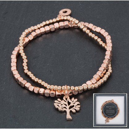 Elasticated tree of life rosegold bracelet
