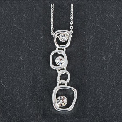 Silver Plated Drop Gems Pendant