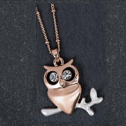 Owl Pendant Rose Gold Plated