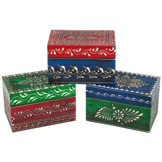 Mumbai Style Keepsake Box Style 3 Green Base/Blue Lid