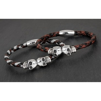 Mens Two Tone Skull Wristband - Grey