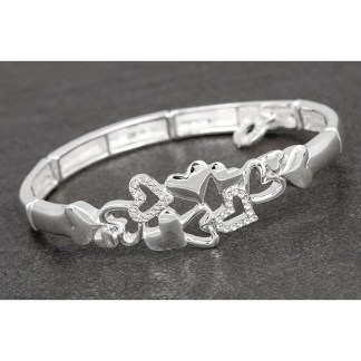 Falling Hearts Silver Plated Bracelet