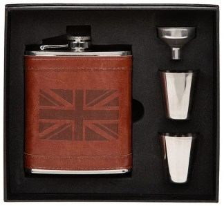 Hip Flask 2 Cups Set Tan Union Jack - 6oz