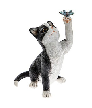 Cute Kittens with Butterfly Figurines Black