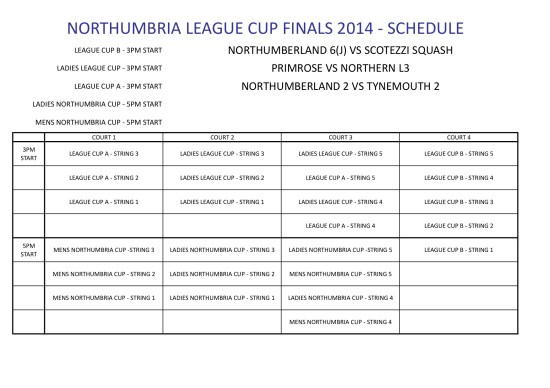 LEAGUE CUP FINALS SCHEDULE 2014