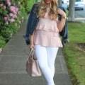 white jeans and feminine ruffles