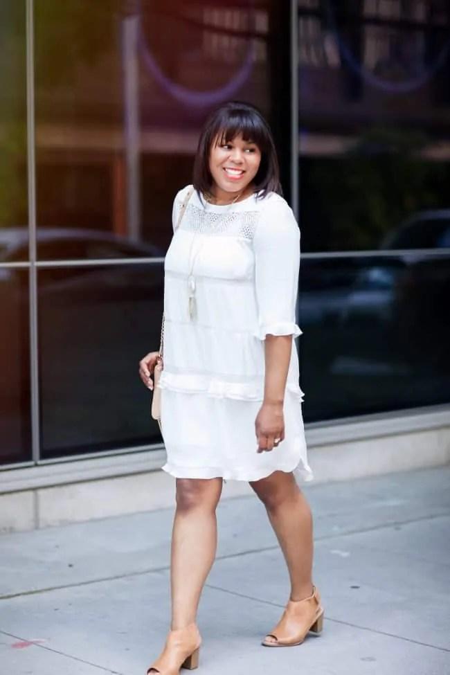 white ruffle dress