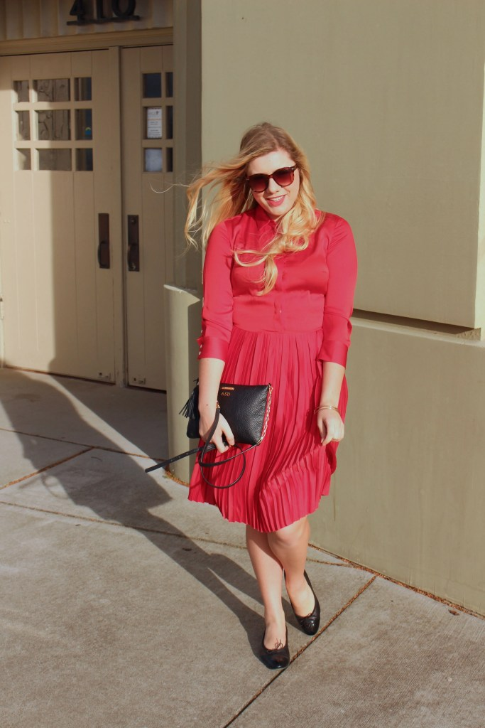 valentines day - banana republic pleated dress