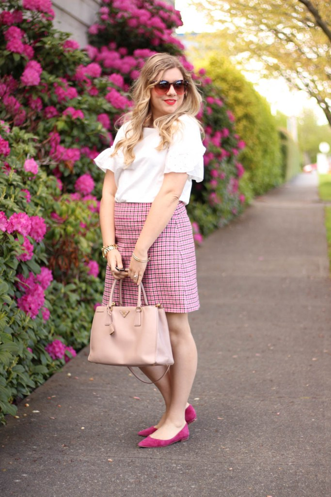statement sleeves for the faint of heart - j.crew eyelet top - pink houndstooth skirt