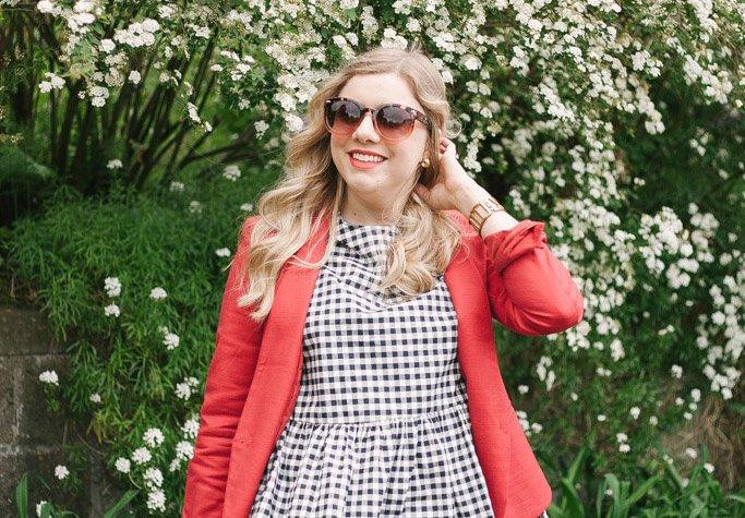 red blazer - celine nano luggage tote - Victoria Beckham gingham
