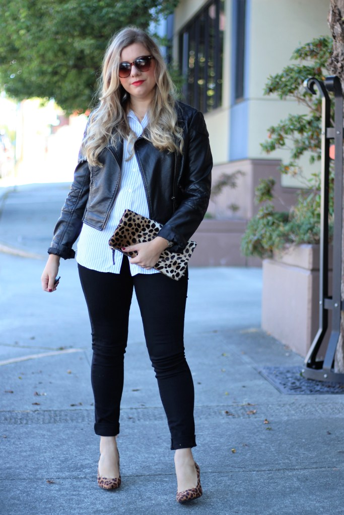 times you shouldn't go shopping - chic fall outfit to copy - clare v leopard clutch - no shopping challenge