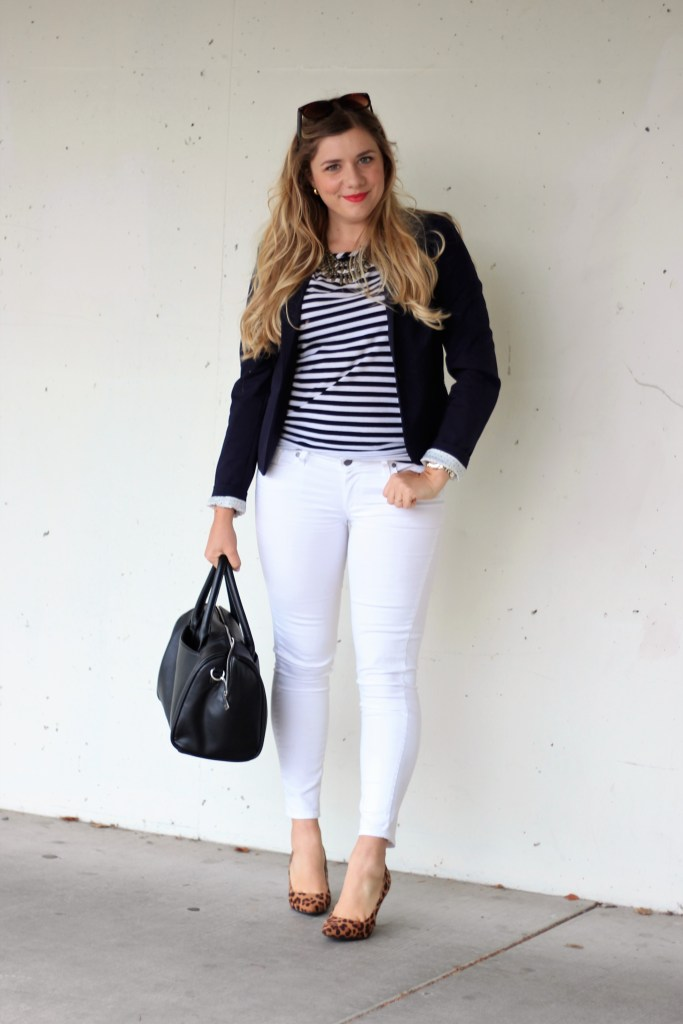white jeans after labor day - preppy style - cute and preppy outfit - white jeans - leopard heels