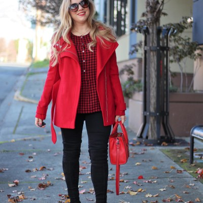 red days of christmas - red express coat - stuart weitzman highland - chic winter outfit