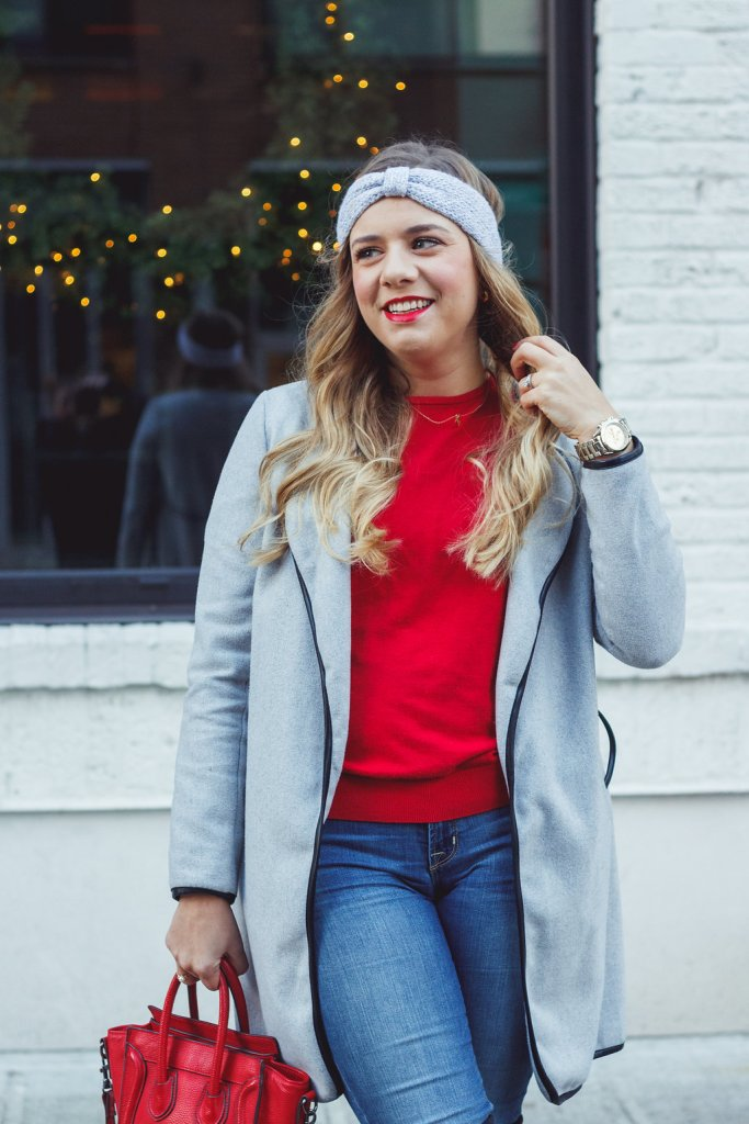 easy and warm winter outfit - stuart weitzman winter outfit - red sweater - celine mini luggage look alike