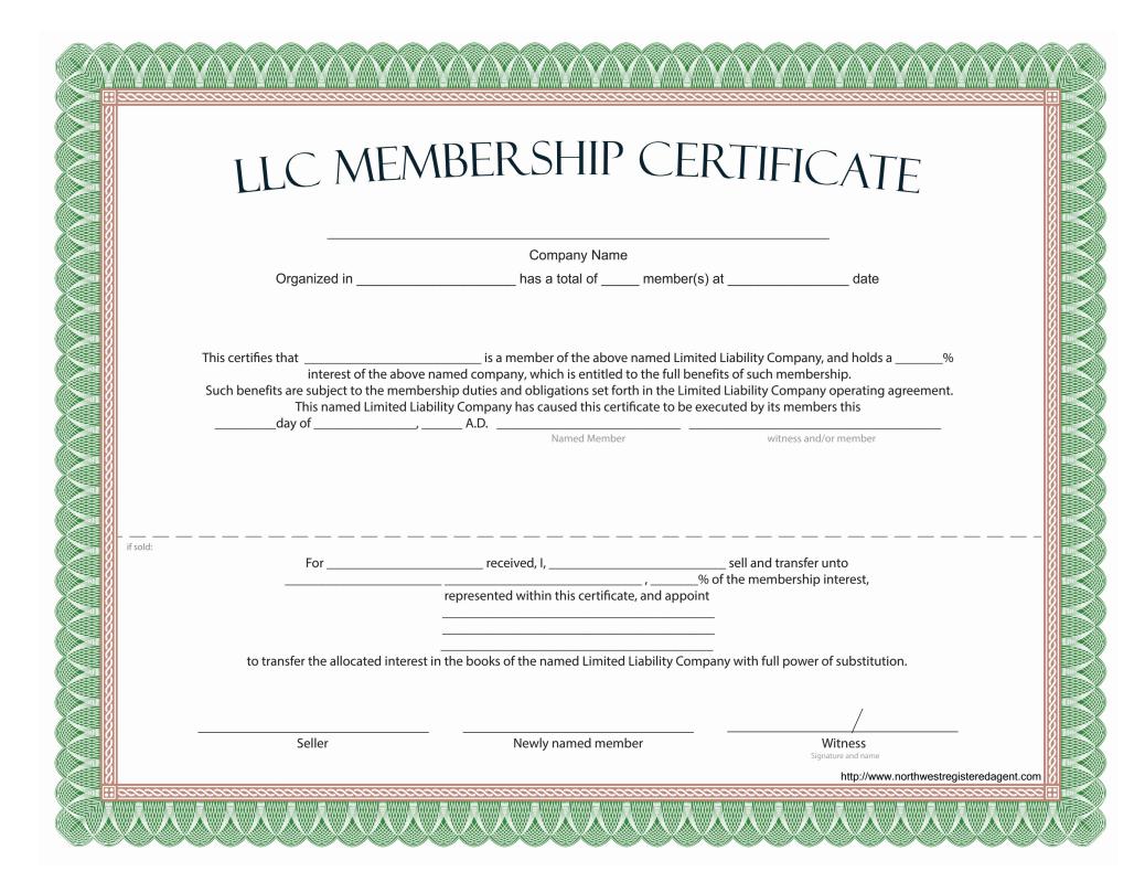 Llc Membership Certificate Free Template
