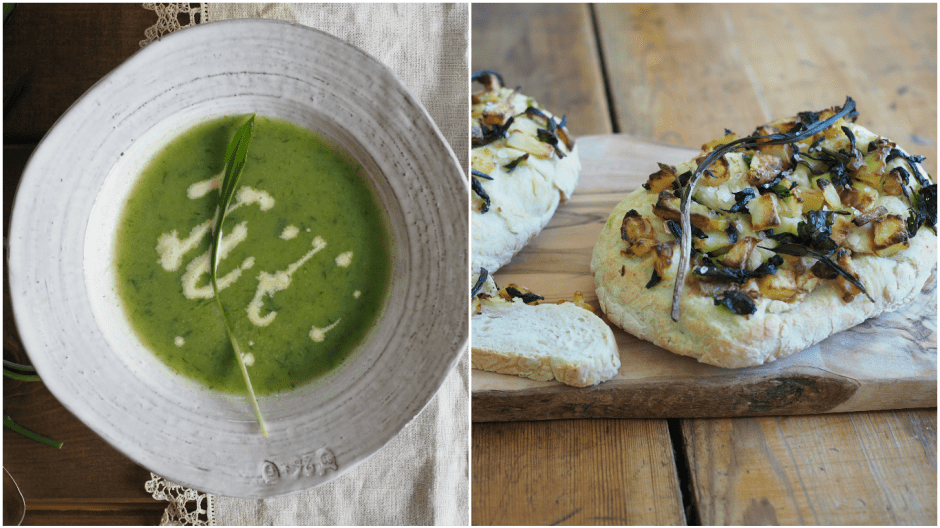 Wild Garlic Soup and Wild Garlic Potato Bread ( Ramsløksuppe og Ramsløkbrød)