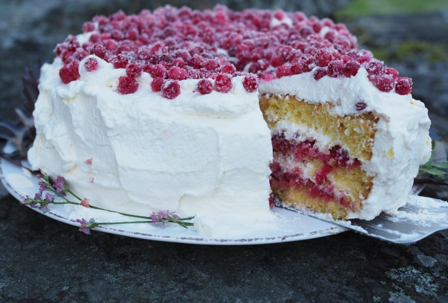 Bløtkake med Tyttebaer (Norwegian Layer Cake with Lingonberries)