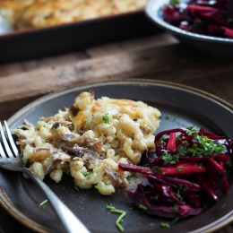 Norwegian Pinnekjøtt Macaroni and Cheese and Winter Slaw