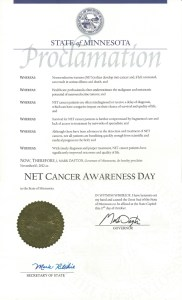 2012 MInnesota NET Cancer Awareness Day Proclamation