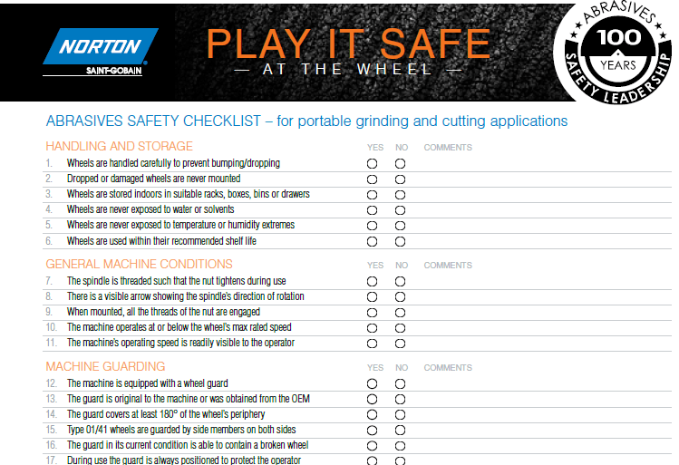 Safety Checklist For Portable Grinding And Cutting