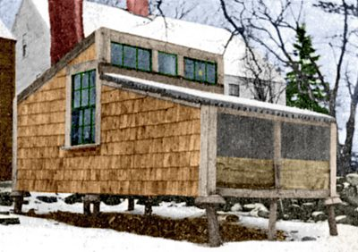 A fresh-air poultry house during a New England winter.