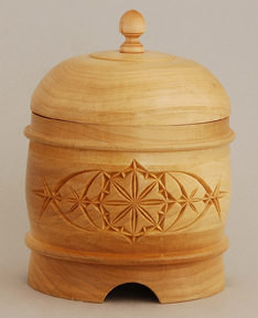 Wooden container with chip carving by Marvin Bruha.