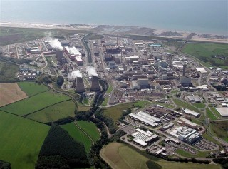 Photo of Sellafield from gyrocopter, Photo by Simon Ledingham, www.nwgyro.co.uk.