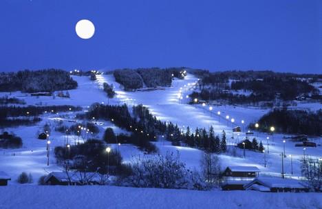 Hafjell in the moon light. Photo: Hafjell.no