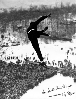 Cy Moss in Brattleboro, VT...probably 1930s. Photo: New England Ski Museum Collection.