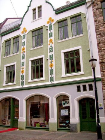 NORDIC DETAIL: No building is like any other in Alesund, where designs and patterns from Norse myth and legend predominate. (Susan James/The Epoch Times)