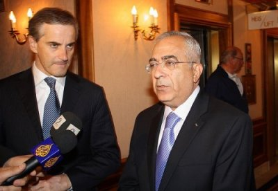 The press conference on the first day with Foreign Minister Jonas Gahr Støre and Palestinian Prime Minister Salam Fayyad.