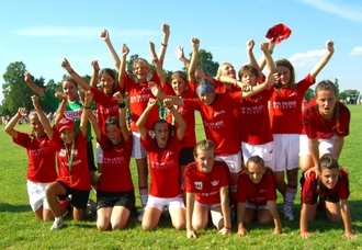 This year, for the first time ever, an Albanian girls team is participating in Norway Cup. The girls have never before been abroad, and they are very excited to be here. Photo: www.norwaycup.no