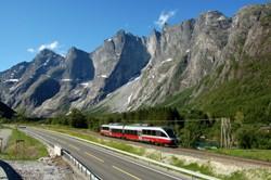 "Trollveggen (""The Troll Wall"") at the Rauma line. Photo: Leif J. Olestad"