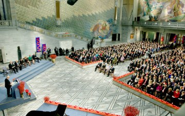 The Nobel Peace Prize Award Ceremony 2008 at the Oslo City Hall, Norway. Copyright © The Nobel Foundation 2008 Photo: Odd-Steinar Tøllefsen