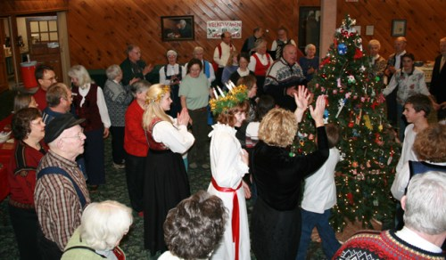"Maine Nordmenn dance around the Christmas tree singing ""O Jul Med Din Glede."" Photo: Eleanor Froiland Andrews"