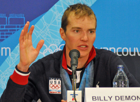 US Nordic Combined skier Bill Demong after winning gold in 2010 Olympics (photo Voice of America).