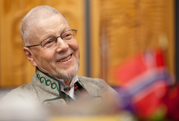 Audun Toven smiles as the Svare-Toven Professorship in Norwegian and Scandinavian Studies at Pacific Lutheran University is announced during the Syttende Mai Norwegian Constitution Day) celebration Tuesday, May 17, 2011. Photo: John Froschauer/PLU