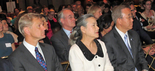 Jan Egeland, Yoo Soon-taek and Ban Ki-moon. Photo: Norway UN Mission/Emma K Lydersen
